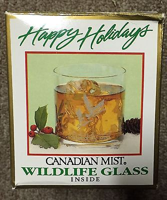 CANADIAN MIST WILDLIFE WHISKEY ROCK BAR GLASS ETCHED CANADIAN GEESE Christmas