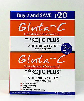 Gluta-C with Kojic Plus Skin Whitening Soap 60g x 2 (from £11.99 to £30.00)