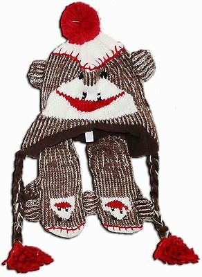Sock Monkey Hat with Mittens and Tassels Original Toddler Size Red Brown