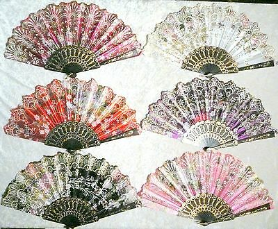 Lot of 6 Spanish Style Floral Gold Glitter Wedding Dancing Folding Hand Held Fan