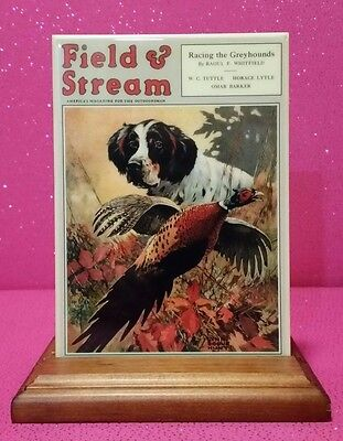 Field & Stream Cover Art *tile* English Setter Hunting Dog With Easel Pheasant