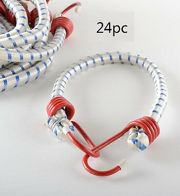 "NEW (24pc) 24"" Bungee Cord HEAVY DUTY Tie Down Rubber Strap Cargo Tarp Elastic"