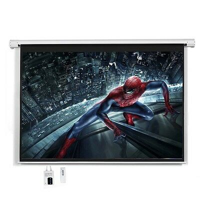 """New 100"""" 16:9 HD Foldable Electric Motorized Projector Screen + Remote"""