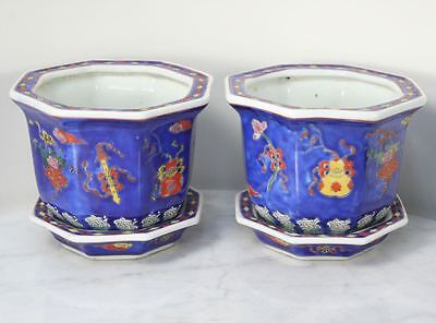 Pair of Antique Chinese Porcelain Planters with Dragon Seal Underplate. Colorful