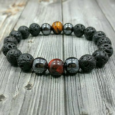 "8""L Handcrafted 10mm Lava+Hematite+Red Tigers Eye Gemstone Men's Beaded Bracelet"