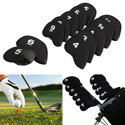 10pcs Golf Head Cover Club Iron Putter Head Protector Set Wedge Neoprene Black