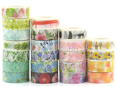 15mmX7M Pastel Nature Blossom Flower Botanic Animal Garden Washi Masking Tape