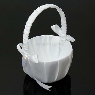 Romantic Wedding Party Ceremony White Bowknot Satin Ribbon Flower Girl Basket