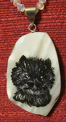 Cairn Terrier hand painted on freeform White Agate pendant/bead/necklace