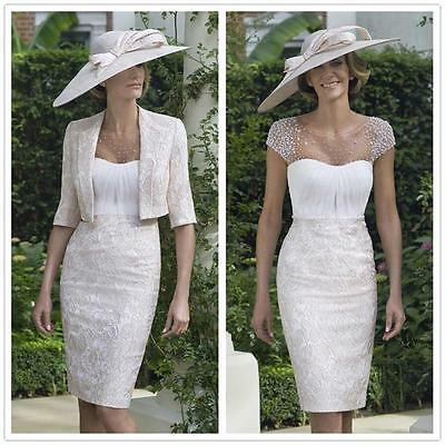 Lace Jacket Formal Outfits Mother of the Bride Dress Custom Size 10 12 14 16 18+