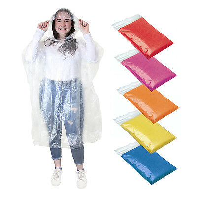 10 FESTIVAL PONCHO Disposable Plastic Raincoat Emergency Rain Waterproof Camping
