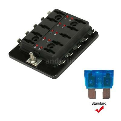10 Way Blade Fuse Box Holder with LED Warning Light For Car Boat Marine E6X5