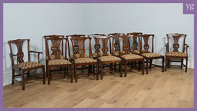 Antique Set of 12 Twelve Georgian Chippendale Style Mahogany Dining Room Chairs