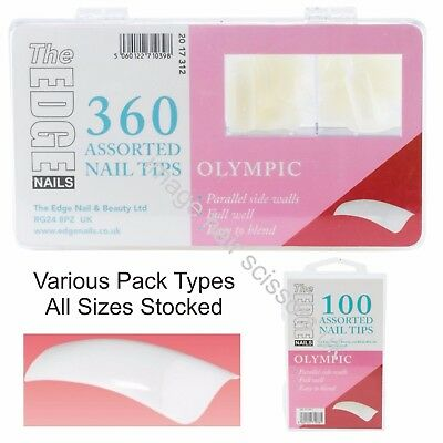 The Edge OLYMPIC Nail Tips Box of 360, 100 Or Refill Packs 50 Easy to Blend