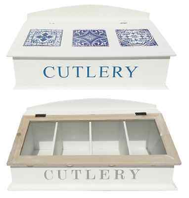 French Shabby Chic Wooden Cutlery Box Knife Fork Glass Lid Storage Tray Holder