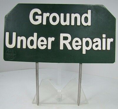 Vintage 'Ground Under Repair' Sign Golf Course Country Club Advertising Par Aide