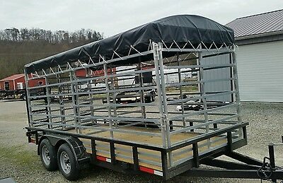 Cattle-Rack Trailer Tarp ~Amish Made ~Black Top fits 16 Foot Trailer.