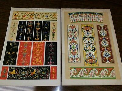 Pair of 1868 Wallpaper Lithographs from Jones The Grammar of Ornament