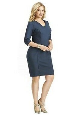 4d38048c82d0d Nwt Mynt 1792 Plus Size Seam detail Lane Bryant crepe Sheath blue Dress   198 24W