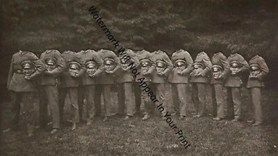 CREEPY CRAZY SPOOKY FREAKY ODD STRANGE Soldiers Holding Head WEIRD VINTAGE PHOTO