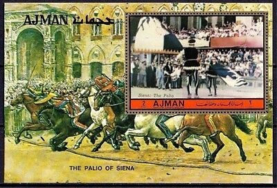 Ajman 1972 The Palio of Siena Paintings Horses Racing Middle Ages Competition NH