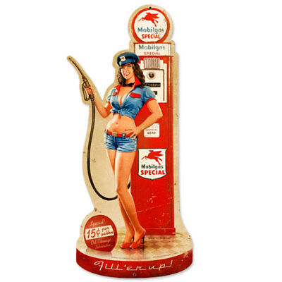Mobilgas Pump Girl Metal Sign Die Cut Greg Hildebrandt Gas Garage Decor 11 x 26