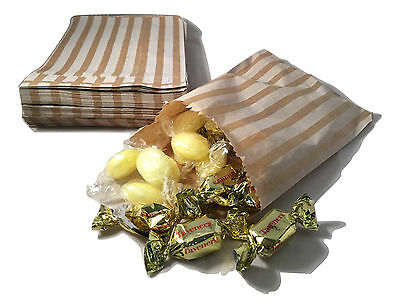 """100 BROWN KRAFT CANDY STRIPE PAPER PARTY SWEET BAGS 5"""" x 7"""" - CANDY CART WEDDING"""