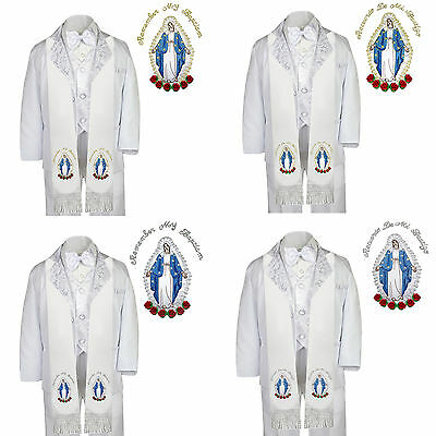 6pc Baptism White Tuxedo Paisley English Spanish Colored Silver Gold Mary Stole