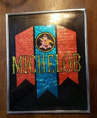 Vtg Framed 8X10 Foil Art Michelob Beer Anheuser Bush Carnival Fair Prize