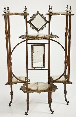 Great Victorian Gilt Metal & Marble / Onyx Mirrored Etagere