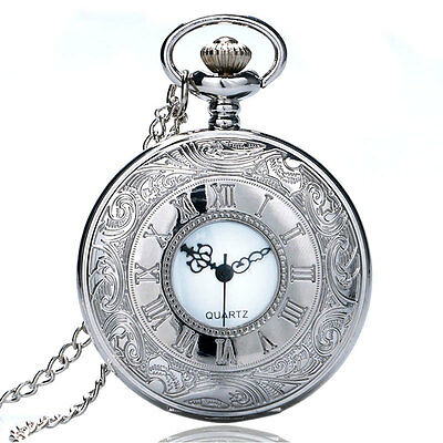 Antique Style Silver Quartz Pocket Watch Necklace Chain Fashion Steampunk Xmas