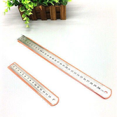 12'' 30cm Stainless Steel Metal Ruler Rule Precision Double Sided Measuring Tool