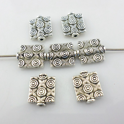 32/300pcs Tibetan Silver Rectangle round Charms Loose Spacer Beads 10x12mm