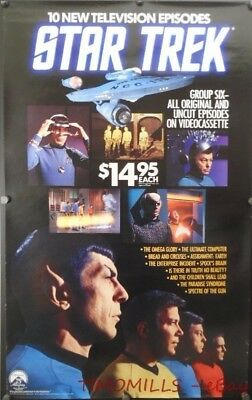 1987 Star Trek VHS Paramount Picture 75th Anniversary Store Promo Poster Vintage