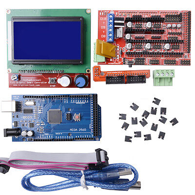 NEW 3D Printer Kit RAMPS 1.4+ Mega 2560+ A4988+ 12864 LCD Controller For Arduino