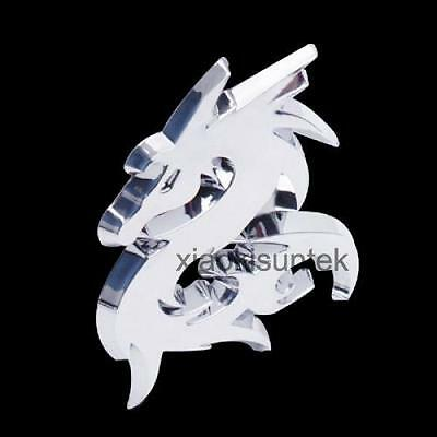 3D Decro Dragon Style Car Auto Emblem Badge Decal Sticker Silver