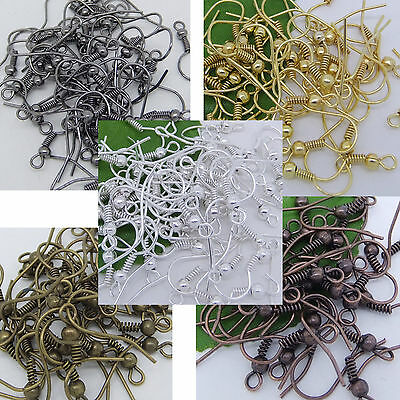 Free Shipping 100/500pcs EARRING HOOK COIL EAR WIRE FOR JEWELRY Making Findings