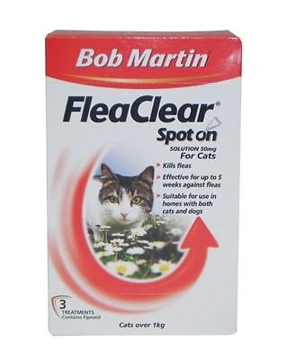 Bob Martin - FleaClear Flea Spot On Cat x 3 Tubes