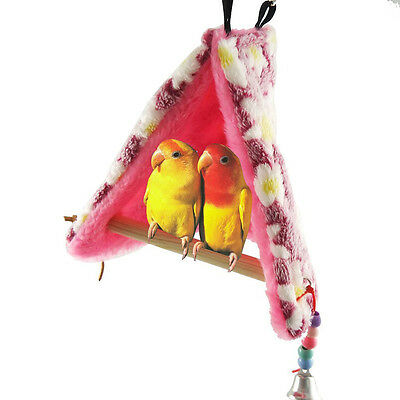 Bird Parrot Winter Warm Hammock Perch Tent Hanging Toys Bed Hut Cave Cage Bunk