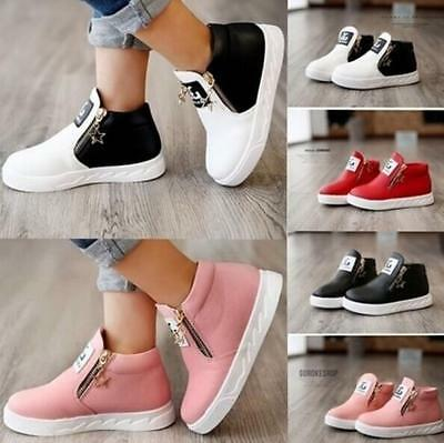 Chic Kids Girls Boys Casual PU Leather Trainers Ankle Martin Boots Zip Shoes JJ