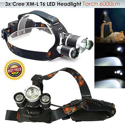 6000LM T6 3x CREE XM-L LED Headlamp Head Torch Rechargeable Outdoor Headlight UK