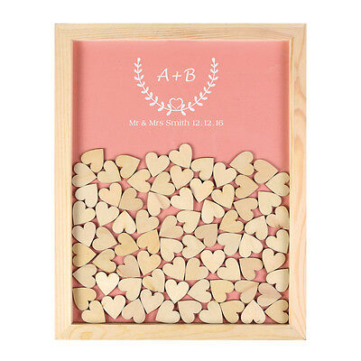 Personalised Engraved Love Wooden Drop Top Guest Book Wedding Frame 130 Hearts