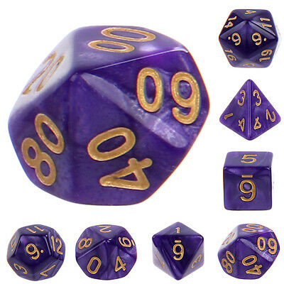 Set of Seven Digital Multifaceted Dice for Entertainment Game Toys Purple Color