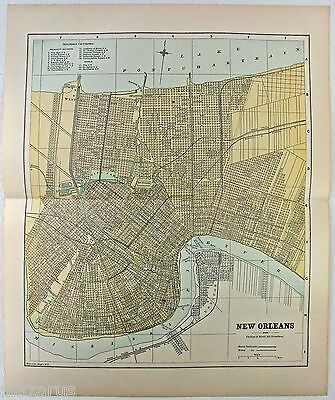 Original 1888 Street & Railroad Map / Plan of New Orleans, LA by Phillips & Hunt