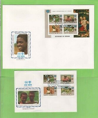 Burundi 1979 Two illustrated International Year of the Child First Day Covers