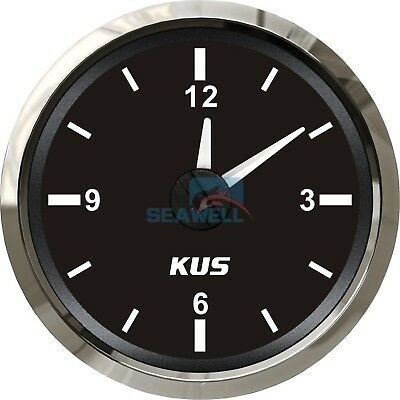 KUS Boat Marine Car RV Truck Hour Quartz Clock Gauge Dial 12 Hour 12V/24V