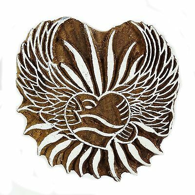 Handcarved Printing Block Heart Wooden Blockprint Textile Printing Block