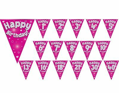 Girls Ladies Hen Party Bunting Pink Holographic 11 flags 3.9m Garland Decoration