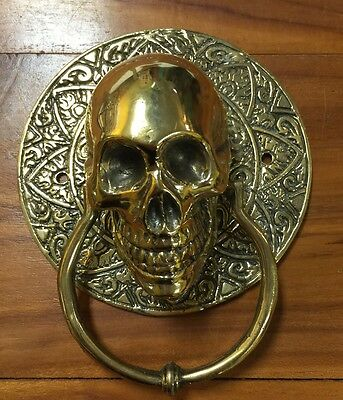 Skull Head Statue Sculpture Figure Skeleton Door Handle Vintage Golden Patina
