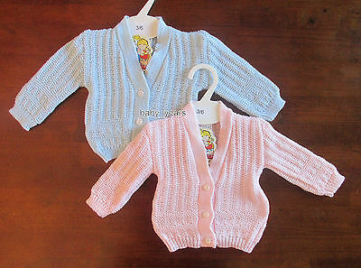 Baby Knitted Cardigan Boys Girls Pink Blue Long Sleeved Clothing Newborn 0-3M